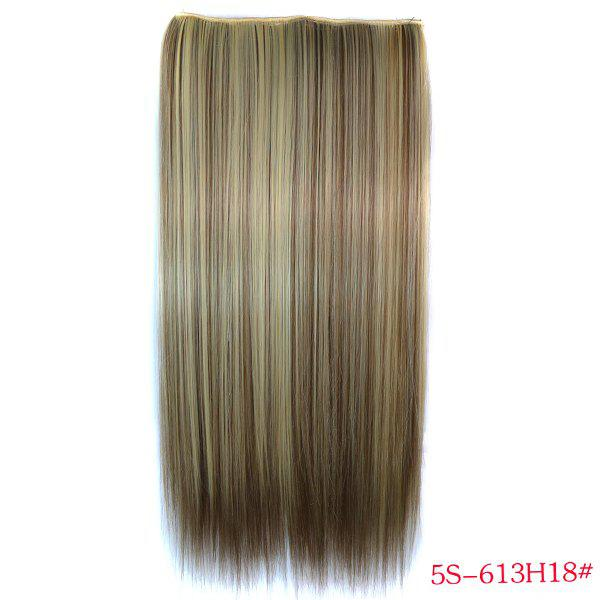 Trendy Long Straight Clip-In Heat Resistant Synthetic 613H18 Women's Hair Extension - COLORMIX