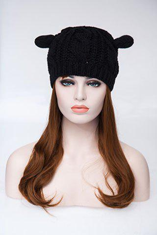 Chic Style Cat Ears Shape Design Knitted Hemp Flowers Hat For Women - BLACK ONE SIZE