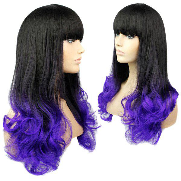 Full Bang Stylish Black to Purple Ombre Long Wave Charming Synthetic Women's Capless Wig