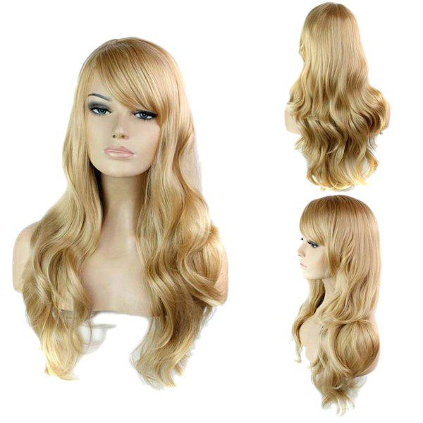 Side Bang Stylish Blonde Brown Mixed Long Big Wavy Noble Synthetic Women's Capless Wig
