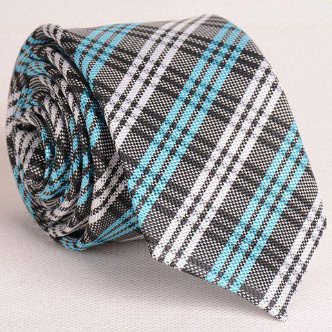 Fresh Style Colorful Stripe and Plaid Pattern Thin Neck Tie For Men - CHECKED