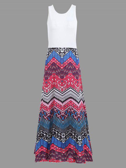 Boho Crisscross Printed A Line Floor Length Dress - multicolor S