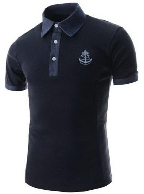 Trendy Anchor Embroidery Color Block Splicing Turndown Collar Short Sleeve Slimming Men's Polyester Polo T-Shirt - CADETBLUE M