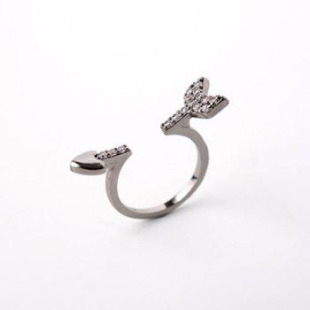 Rhinestone Embellished Arrow Heart Shape Cuff Ring