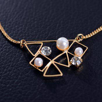 Fantastic Faux Pearl Decorated Hollow Out Geometric Women's Necklace - GOLDEN