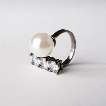 Rhinestone Faux Pearl Decorated Ring
