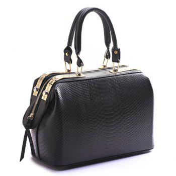 Fashion Crocodile Print and Zip Design Tote Bag For Women - BLACK BLACK