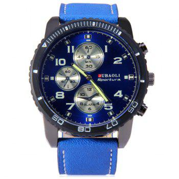 Jubaoli Leather Band Male Quartz Watch with Rotatable Bezel Decorative Sub-dials - BLUE