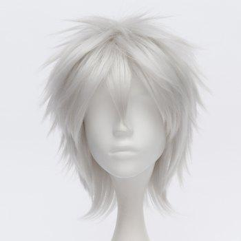 Trendy Short Straight Silvery White Fluffy Charming Sakata Gintoki Cosplay Wig