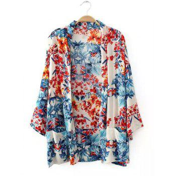 Fashionable 3/4 Sleeve Collarless Floral Print Women's Cardigan