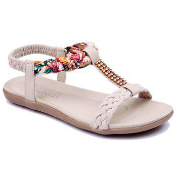 Sweet Weaving and Rhinestones Design Sandals For Women