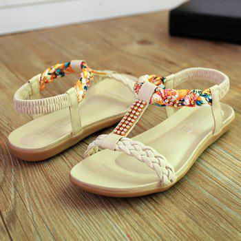 Sweet Weaving and Rhinestones Design Sandals For Women - OFF WHITE 39