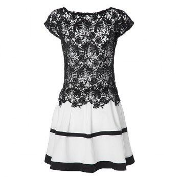 Sexy Scoop Collar Short Sleeve Spliced Hollow Out Women's Dress - WHITE/BLACK WHITE/BLACK