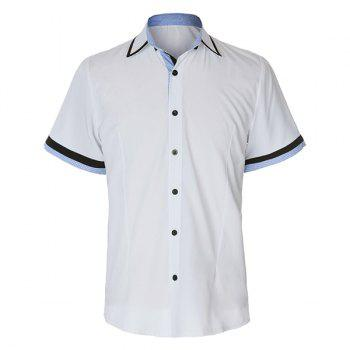 Slimming Turn-down Collar Houndstooth Print Color Block Button Fly Short Sleeves Men's Shirt - XL XL