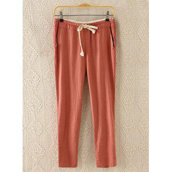 Refreshing Candy Color Lace-Up Ninth Pants For Women