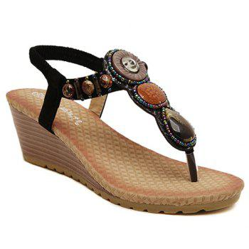 Stylish Wedge Heel and Beading Design Flip-Flop Sandals For Women