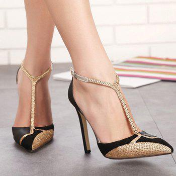 Sexy Splicing and Rhinestones Design Pumps For Women - 39 39