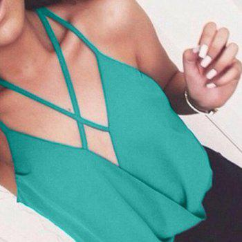 Fashionable Plunging Neck Sleeveless Solid Color Chiffon Women's Tank Top