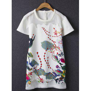 Stylish Round Collar Floral Print Hollow Out Short Sleeve Dress For Women