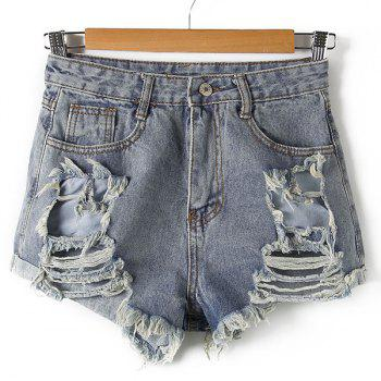 Street Style Button Fly Broken Hole Straight Denim Shorts For Women