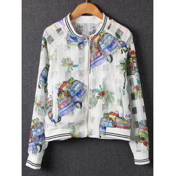 Stand Collar Long Sleeve Cartoon Print Voile Splicing Jacket