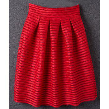 Gorgeous Hollow Out Solid Color Women's Skirt - RED S
