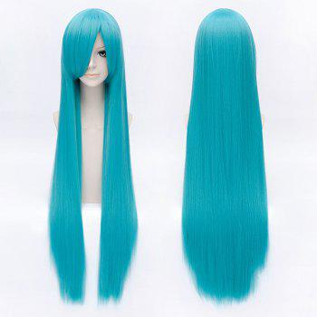 Trendy Long Straight Lake Blue Side Bang Charming Hatsune Miku Cosplay Wig