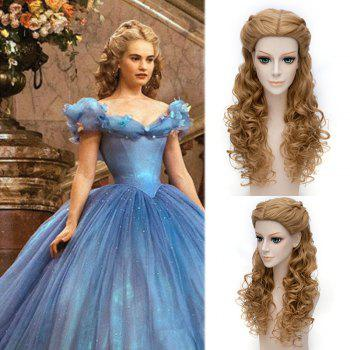 Popular Cinderella Cosplay Elegant Charming Flaxen Long Jerry Curly With Braids Costume Wig