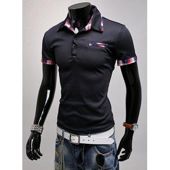 Trendy Color Block Checked Splicing Turndown Collar Short Sleeve Slimming Men's Polyester Polo T-Shirt - CADETBLUE L