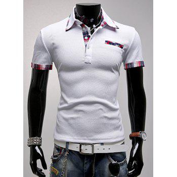 Buy Trendy Color Block Checked Splicing Turndown Collar Short Sleeve Slimming Men's Polyester Polo T-Shirt WHITE