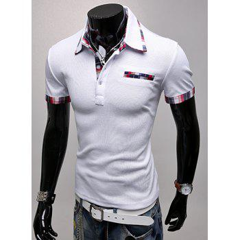Trendy Color Block Checked Splicing Turndown Collar Short Sleeve Slimming Men's Polyester Polo T-Shirt - M M