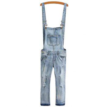 Fashionable Pocket Destroy Wash Denim Overalls For Women