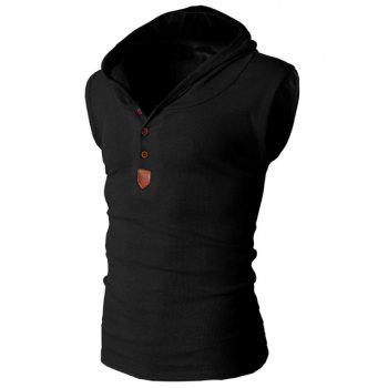 Trendy Solid Color Button Design Hooded Sleeveless Slimming Men's Polyester Tank Top - BLACK BLACK