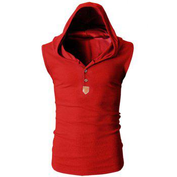Trendy Solid Color Button Design Hooded Sleeveless Slimming Men's Polyester Tank Top - RED M