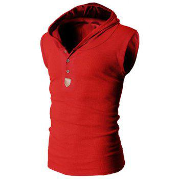 Trendy Solid Color Button Design Hooded Sleeveless Slimming Men's Polyester Tank Top - RED RED