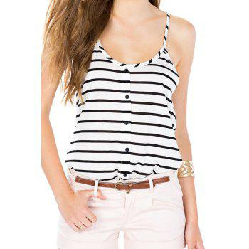 White Black Spaghetti Strap Striped Vest