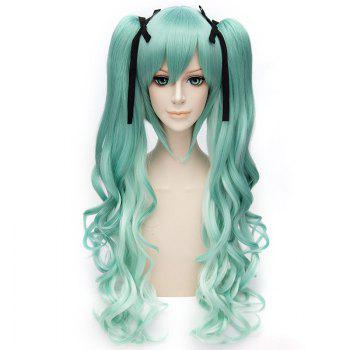 Trendy Long Wavy Green Ombre Charming Takatsuki Sen Cosplay Wig with Bunches
