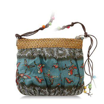 National Style Weaving and Floral Print Design Crossbody Bag For Women - DEEP GREEN DEEP GREEN