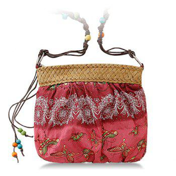 National Style Weaving and Floral Print Design Crossbody Bag For Women