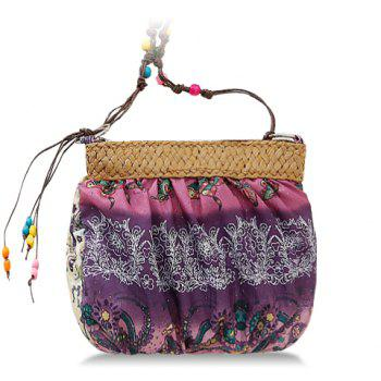 Buy National Style Weaving Floral Print Design Crossbody Bag Women PURPLE
