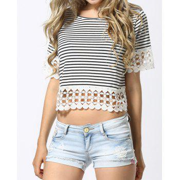 Crochet Hem Striped T-Shirt