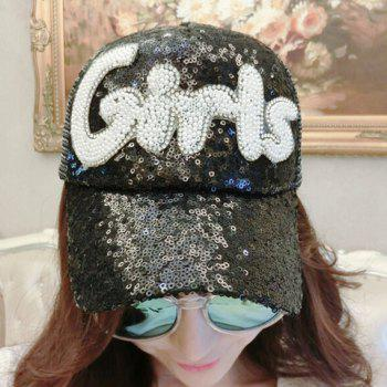 Chic Sequins and Beading Letters Shape Embellished Women's Visor