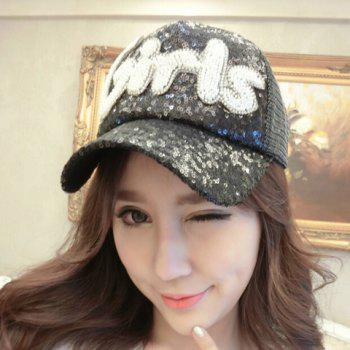 Chic Sequins and Beading Letters Shape Embellished Women's Visor -  BLACK