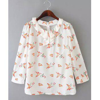 Preppy Style 3/4 Sleeve Peter Pan Collar Bird Print Women's Blouse