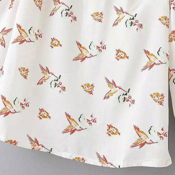 Preppy Style 3/4 Sleeve Peter Pan Collar Bird Print Women's Blouse - WHITE S