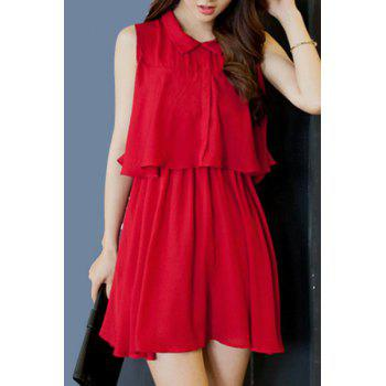 Sweet Sleeveless Flat Collar Solid Color Chiffon Women's Dress - WINE RED WINE RED