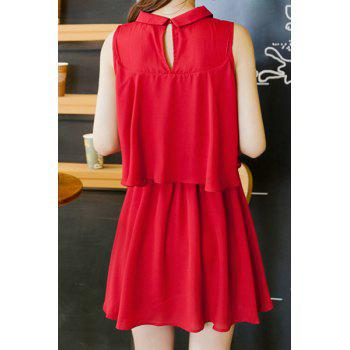 Sweet Sleeveless Flat Collar Solid Color Chiffon Women's Dress - WINE RED XL