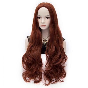 Trendy Synthetic Reddish Brown Long Wavy Centre Parting Charming Women's Fluffy Wig -  COLORMIX