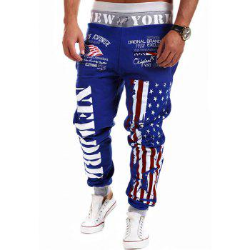 Fashion Lace-Up Stars Stripes Letters Print Loose Fit Beam Feet Men's Polyester Sweatpants