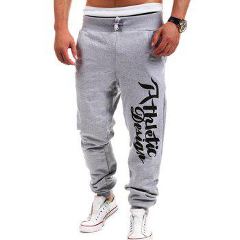 Fashion Lace-Up Letters Print Loose Fit Beam Feet Men's Polyester Sweatpants